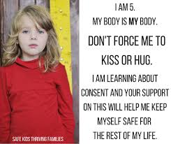 "Meme teaching a child about bodily autonomy: ""Don't force me to kiss or hug. I am learning about consent and support on this will help me keep safe for the rest of my life"""