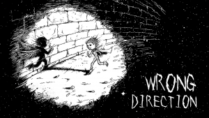 A black and white cartoon saying 'wrong direction' with a child running towards a wall. His shadow has angel wings.